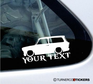 2x Custom YOUR TEXT Lowered car stickers - for  Trabant 601 wagon / kombi oldtimer classic